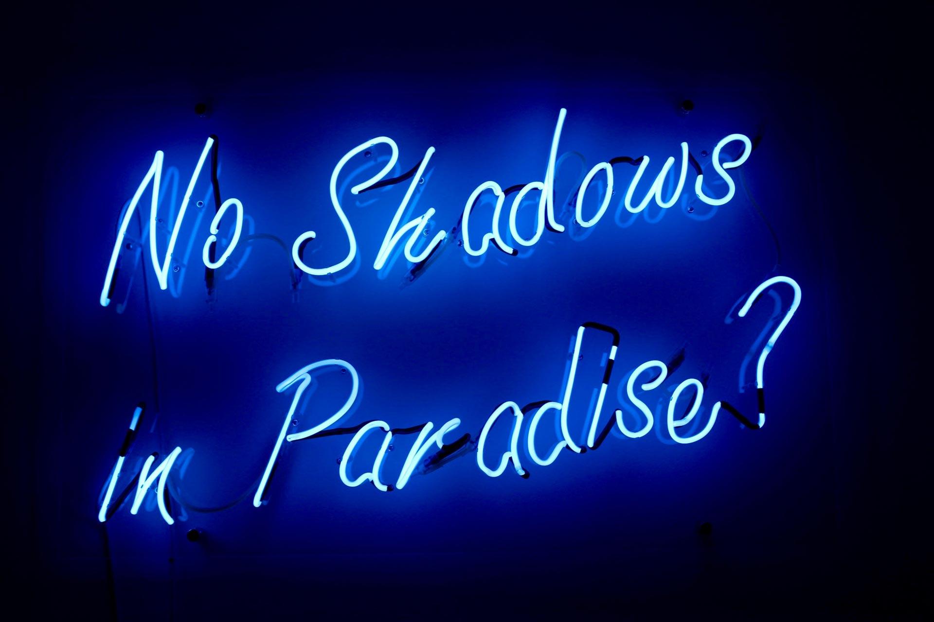 No Shadows in Paradise, work in neon by Fari Bradley