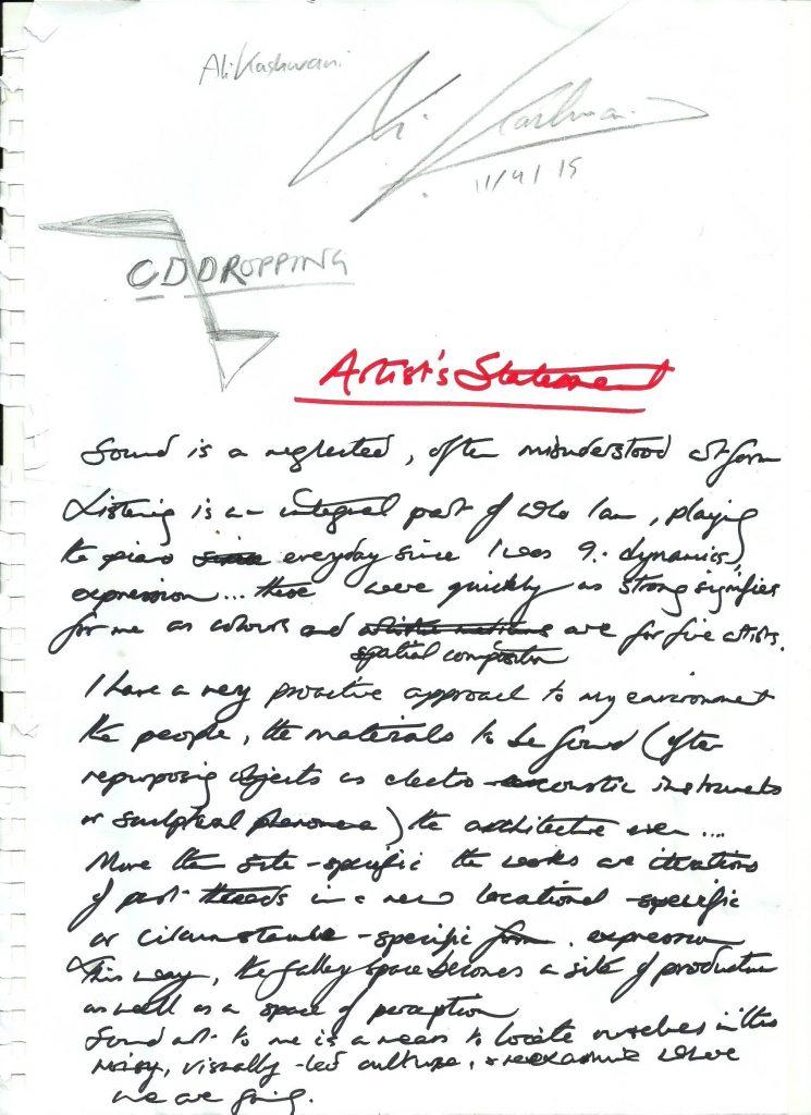 Hand written artist's statement by Bradley