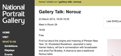 Tonight's Norooz Event at National Portrait Gallery